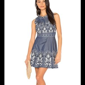 J.O.A. chambray embroidered dress